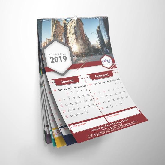 Cetak Kalender Dinding 7 Lembar Ap 120 gsm Klem Seng
